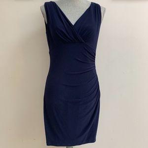 Lauren by Ralph Lauren Faux Wrap Jersey Navy Dress